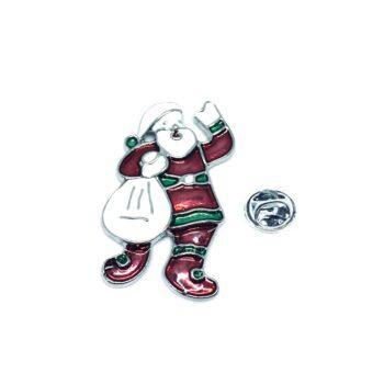 Silver plated Enamel Santa Christmas Pin