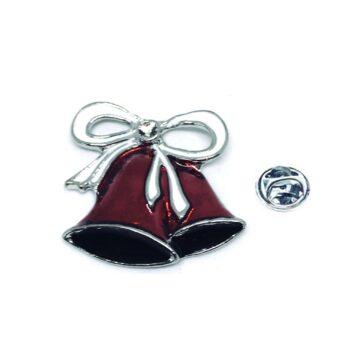 Silver tone Enamel Christmas Pin