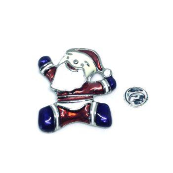 Silver tone Enamel Santa Christmas Lapel Pin