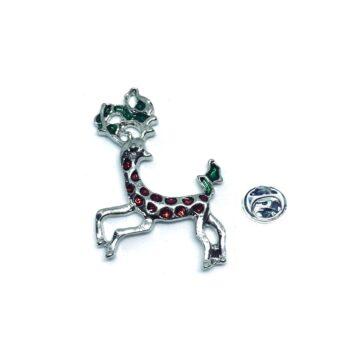 Crystal Deer Christmas Pin