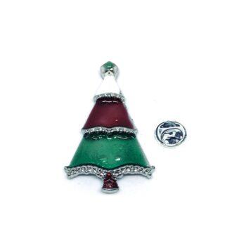 Silver plated Enamel Christmas Tree Pin