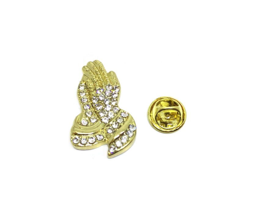 Crystal Praying Hand Religious Lapel Pin