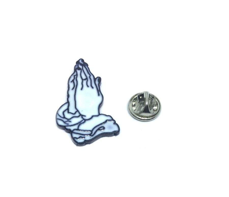 White Enamel Praying Hands Religious Lapel Pin