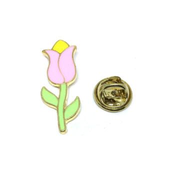 Green & Pink Enamel Rose Lapel Pin