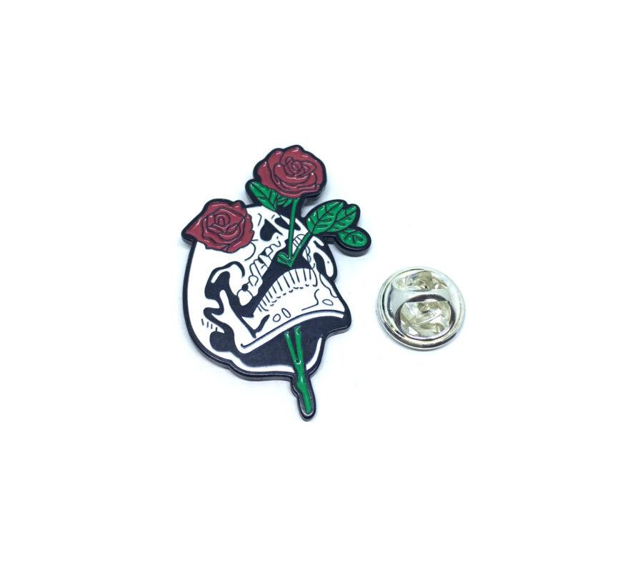 Skull Enamel Rose Lapel Pin