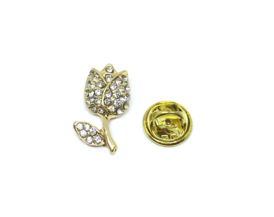 Gold plated Crystal Rose Lapel Pin
