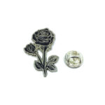 Silver plated Enamel Rose Pin