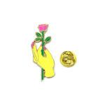 """Rose in hand"" Enamel Lapel Pin"