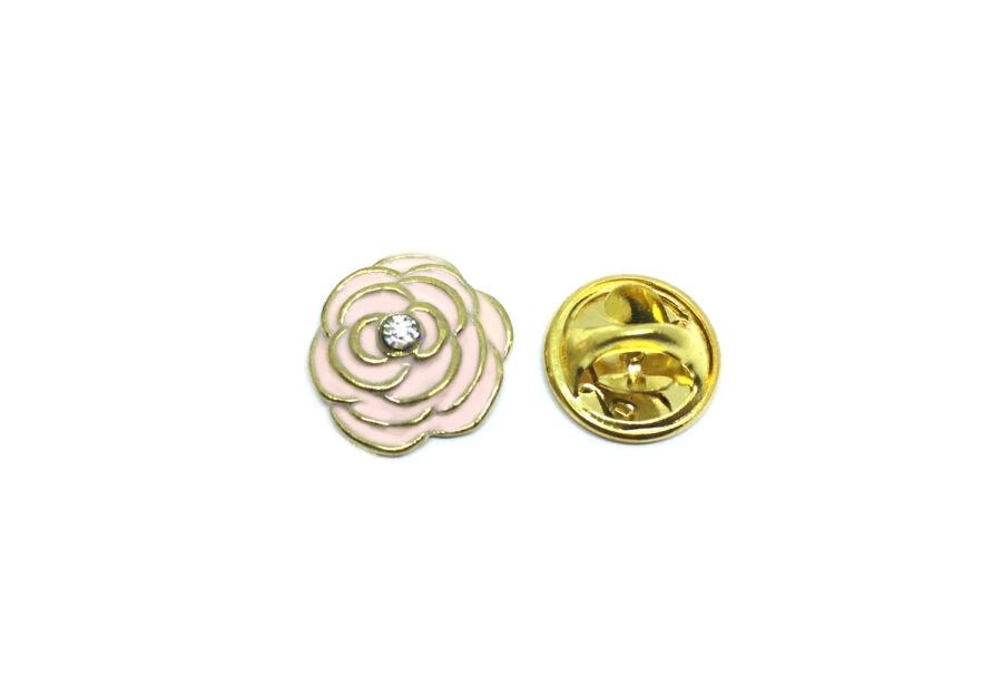 Pink Enamel Crystal Rose Lapel Pin