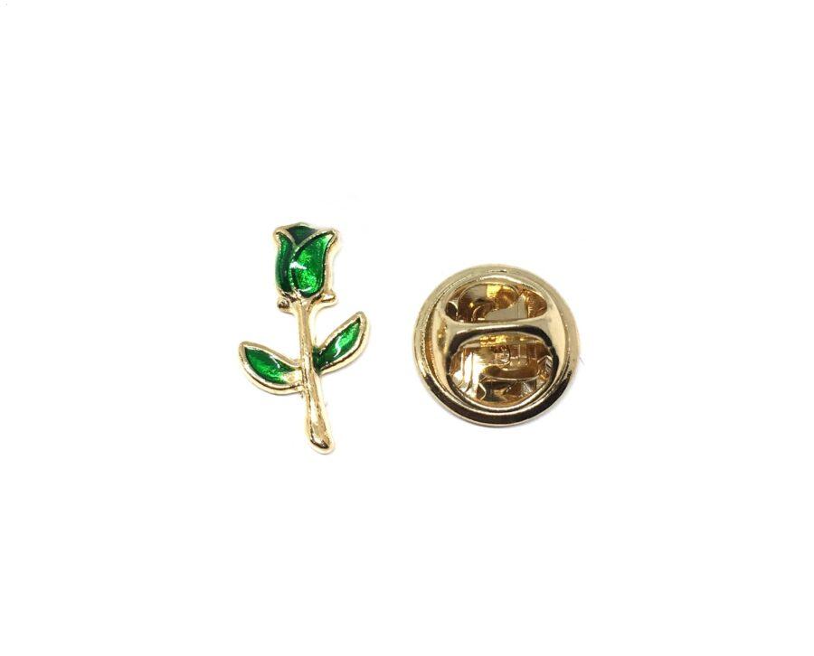 Green Enamel Rose Lapel Pin