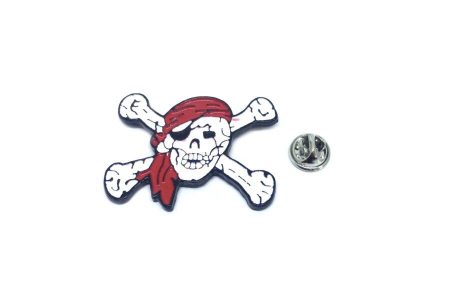 White & Red Enamel Skull Lapel Pin