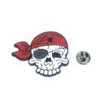 Red & White Enamel Skull Pin