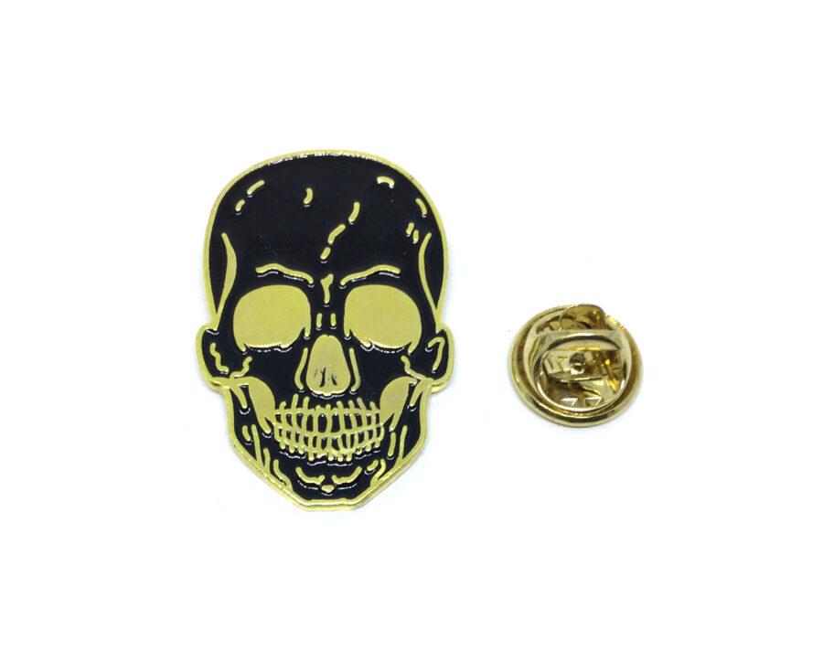 Black Enamel Skull Lapel Pin
