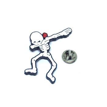 White Enamel Skull Lapel Pin