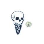 White Enamel Skull Pin