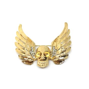 Gold plated Skull Brooch Pin