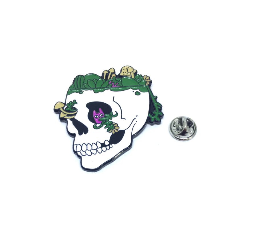 Multi-color Enamel Skull Lapel Pin