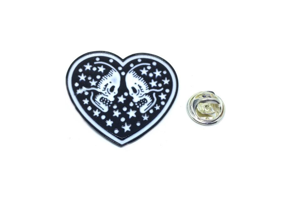 Heart Enamel Skull Lapel Pin