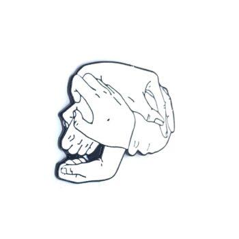 White Enamel Skull Head Lapel Pin