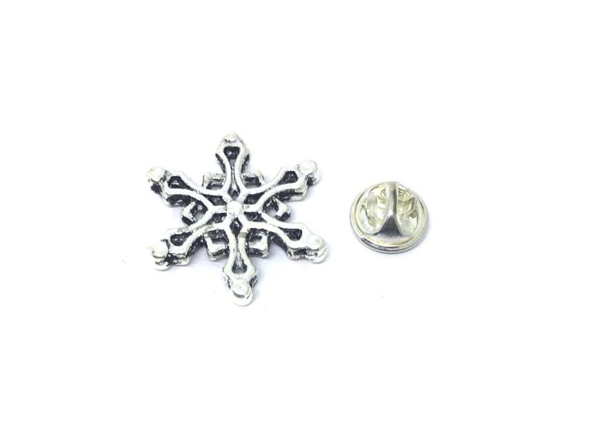 Oxidize Silver tone Snowflake Pin