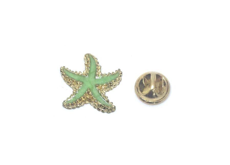 Green Enamel Starfish Lapel Pin
