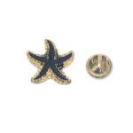 Black Enamel Starfish Lapel Pin