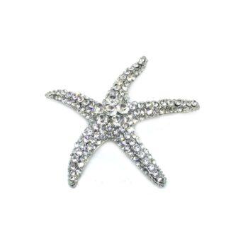 Crystal Starfish Brooch Pin