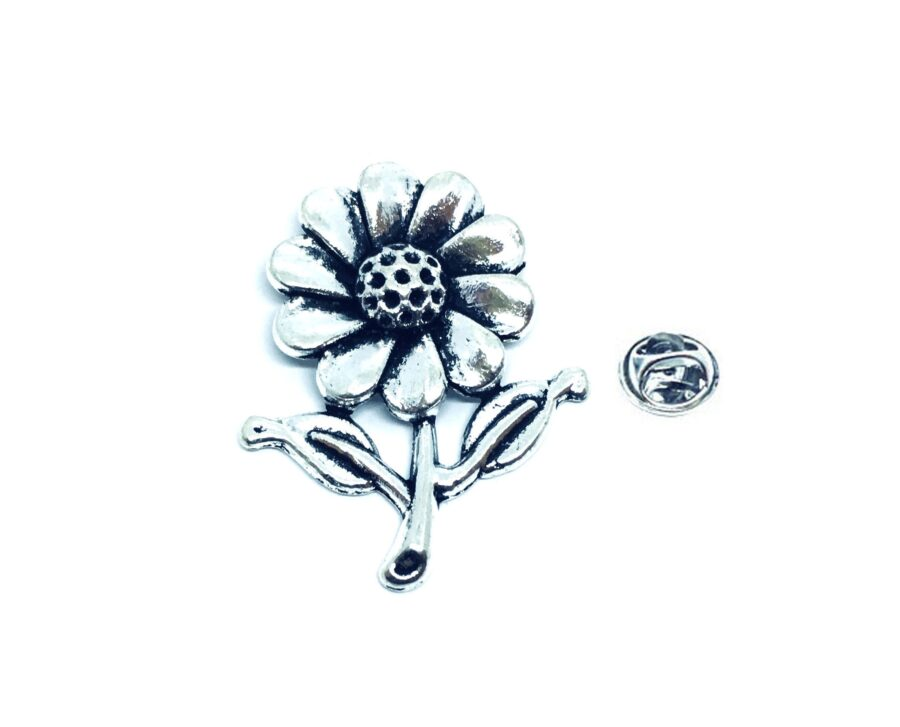 Silver plated Sunflower Lapel Pin