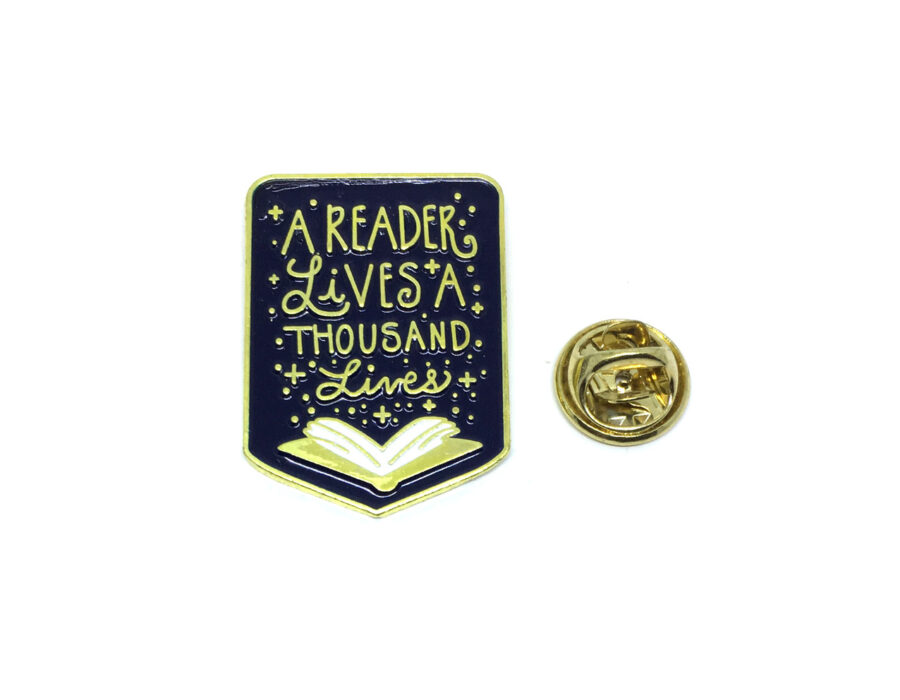 """""""Reader Live Thousand Lives"""" Word Lapel Pin"""