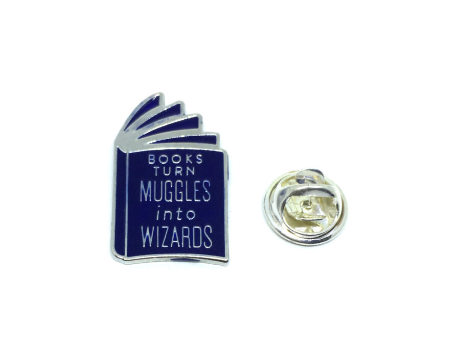 """""""Books Turn Muggles into Wizards"""" Lapel Pin"""