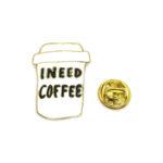 """""""INEED COFFEE"""" Word Lapel Pin"""