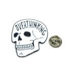 """OVERTHINK"" Word Skull Lapel Pin"