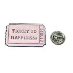 """""""TICKET TO HAPPINESS"""" Word Lapel Pin"""