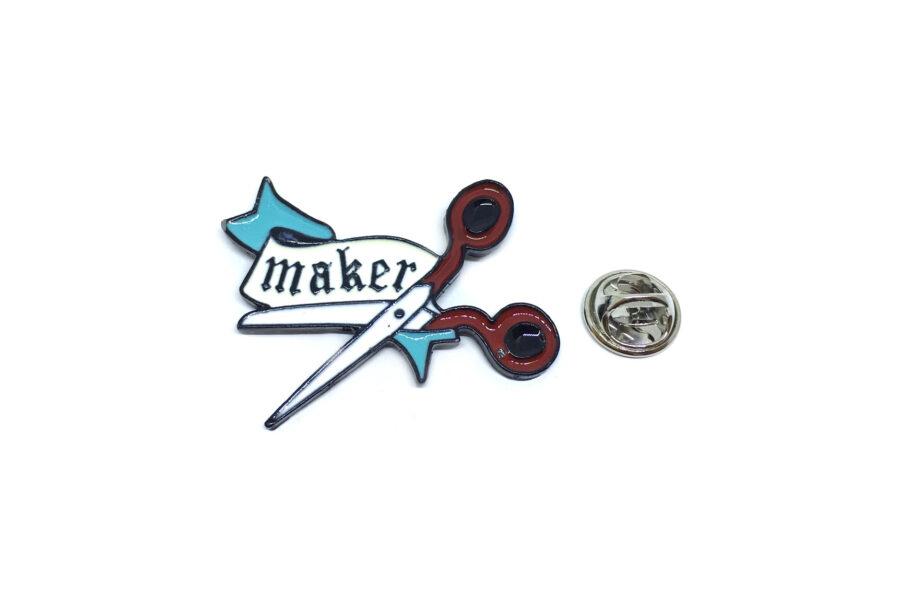 """MAKER"" Scissors Lapel Pin"