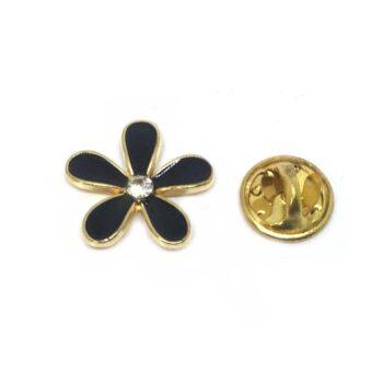 Black Flower Lapel Pins