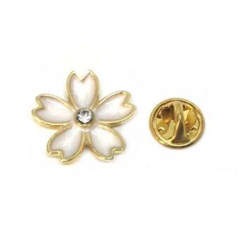 Crystal & White Flower Lapel Pins