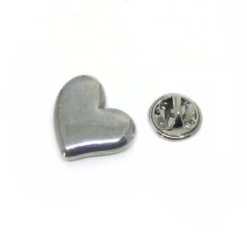 Tiny Silver Plated Heart Lapel Pin