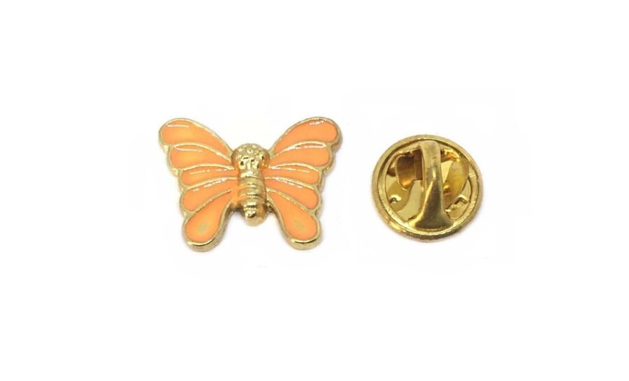 Orange Enamel Butterfly Pin