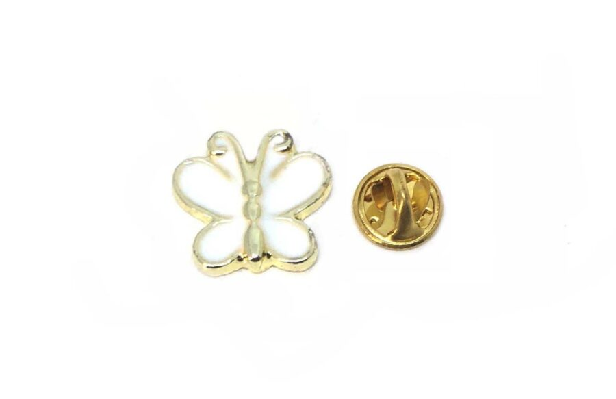 Tiny White Enamel Butterfly Pin