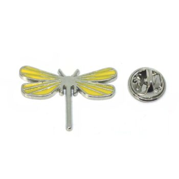 Yellow Enamel Dragonfly Lapel Pin