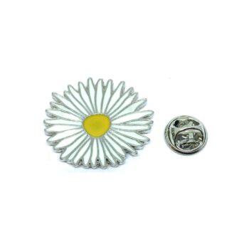 White Enamel Sunflower Lapel Pin