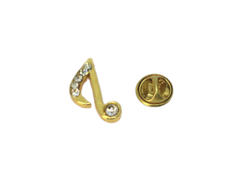 Crystal Eighth note Music Lapel Pin